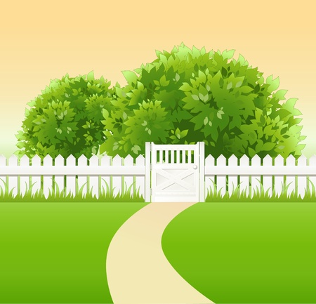 summer garden with tree,  wicket and light railing Vector