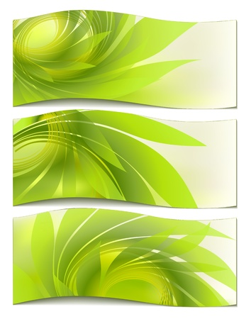set abstract background with green petal Vector
