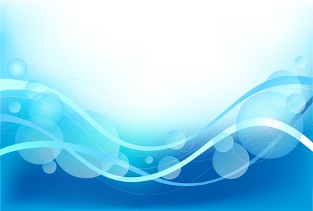 Vector blue background with waves and bubbles Vector