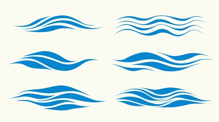 reflectie water: set vektor golven van element van het ontwerp Stock Illustratie