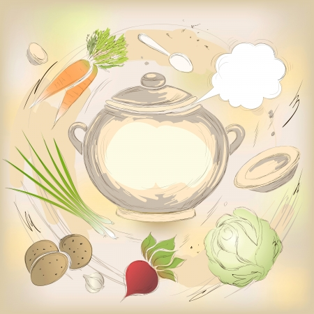 Culinary background with a saucepan of a soup with vegetables, seasonings and utensils