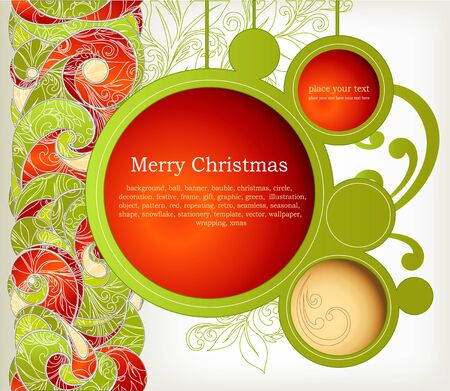 Vintage Christmas Card  Abstract web design bubble