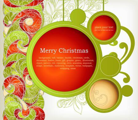 Vintage Christmas Card  Abstract web design bubble