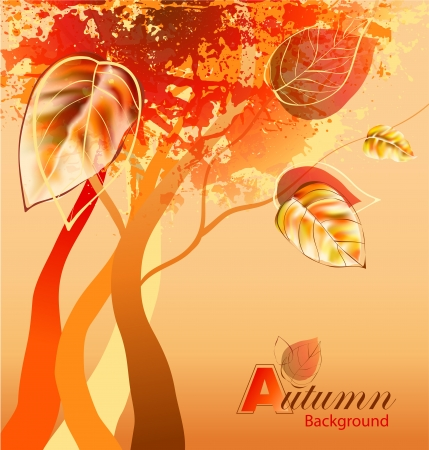 Abstract autumn background with trees Vector