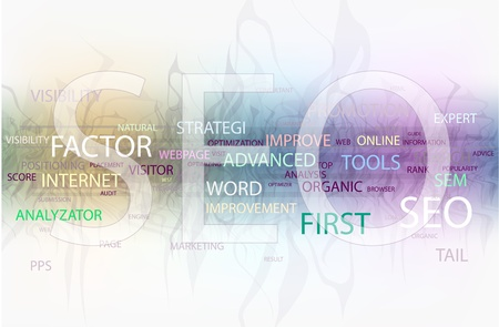 search engine optimized: Words in a wordcloud related to SEO - search optimization concept Illustration