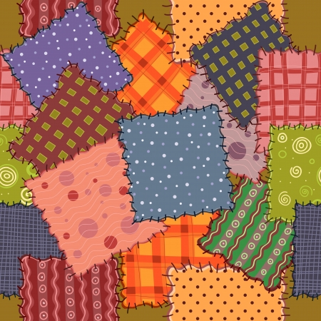 patchwork:  seamless of colorful patchwork fabrics