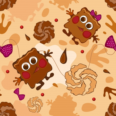 Seamless chocolate monster Vector