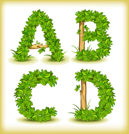 recycling plant: green tree alphabet font Illustration