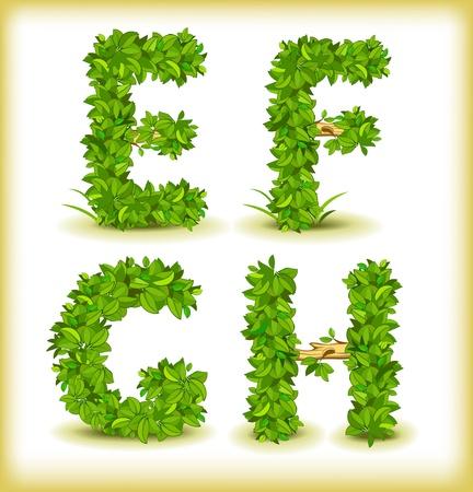 green tree alphabet font Vectores