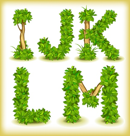 green tree alphabet font Ilustrace