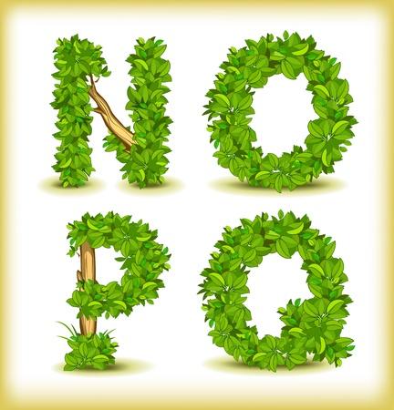 alphabetic: green tree alphabet font Illustration