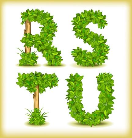 green tree alphabet font Illustration