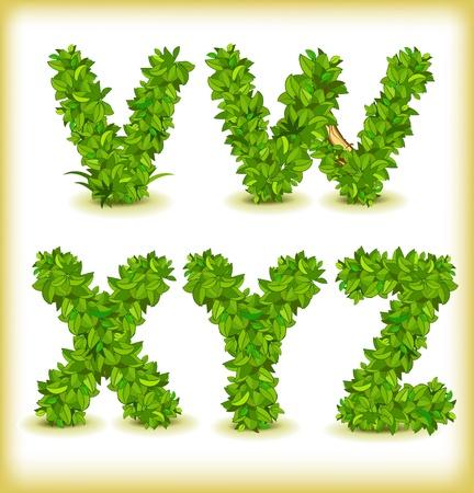 green tree alphabet font Vettoriali