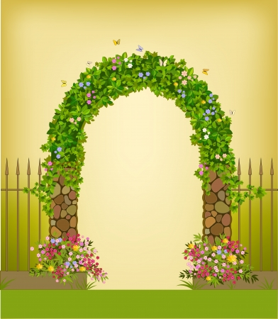 natural arch: Green garden arch with a fence Illustration