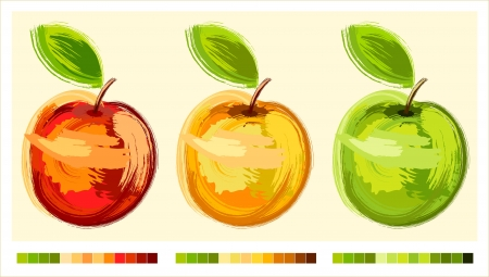 Three drawing apple different colours with green sheet - sketch Ilustração