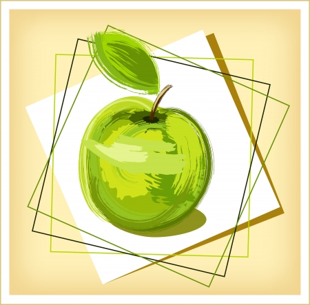 descriptive color: green drawing apple with green sheet - sketch