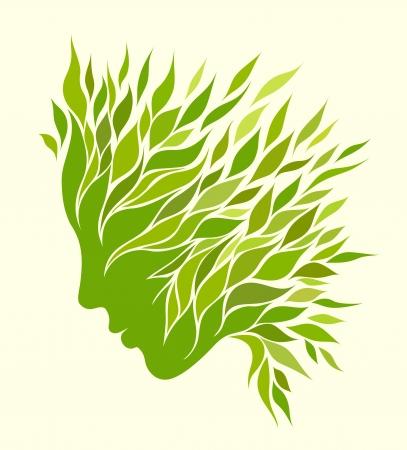 Girl stylized profile design with green leaves Ilustração