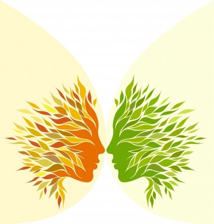 Two girl stylized profile design with green leaves and yellow leaves