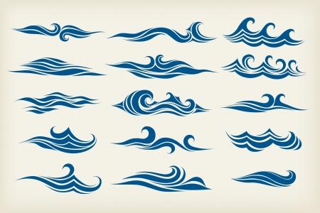 olas de mar: conjunto de las olas del mar - dise�o estilizado Vectores