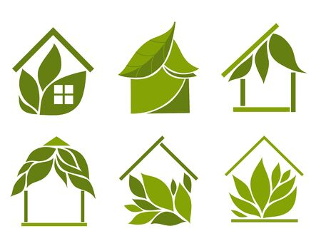 bungalow: Set of green houses