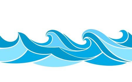 Seamless pattern with stylized waves