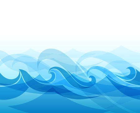 ocean storm: Blue background with stylized waves