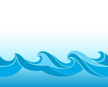 olas de mar: Fondo azul con olas estilizadas