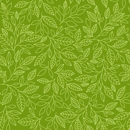 bladeren: Naadloos patroon van gestileerde bladeren op een groene achtergrond Stock Illustratie