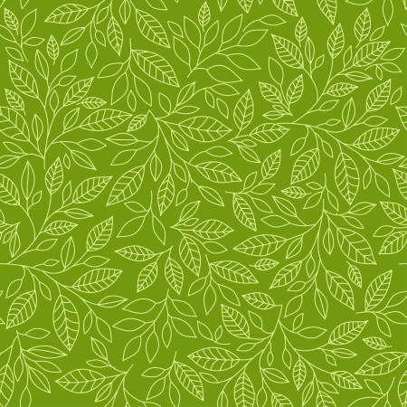 green lines: Seamless pattern of stylized leaves on a green background