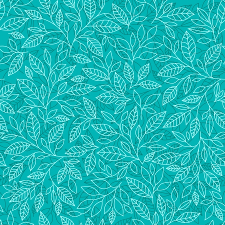 Seamless pattern of stylized leaves on a blue background