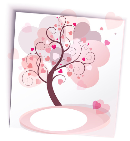 abstract tree with hearts in the form of a sticker Vector