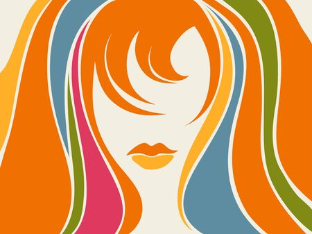 abstract background with a picture of a girl - teen Vector