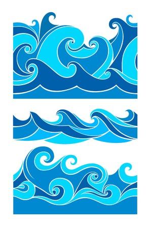 Set waves seamless pattern