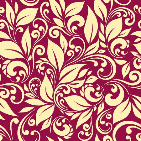 vinous: Seamless pattern, leaves on vinous background