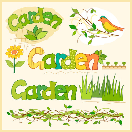 garden fence: garden set of elements for design Illustration