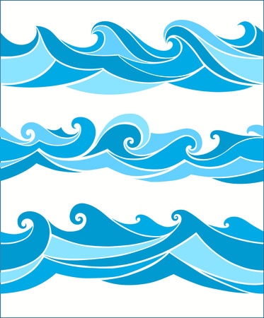 aqueous: set vektor seamless waves from element of the design Illustration