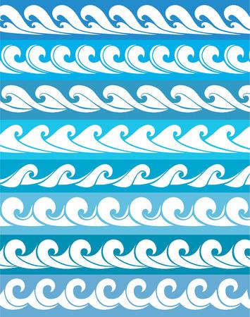 set seamless waves from element of the design Ilustração