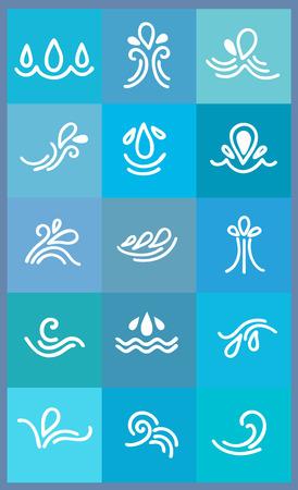 aqueous: set di icone, onde stilizzate e gocce da elemento di design