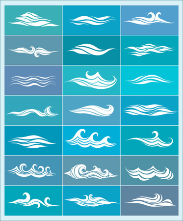 aqueous: set icons, stylized waves from element of the design