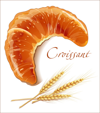 bakery products: Croissant, bakery products - realistic vector images