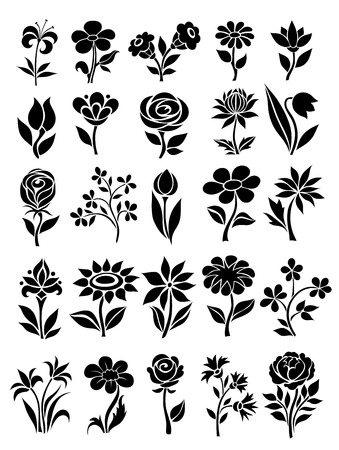 vector set of flower icons