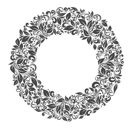 Round frame of patterns and leaves