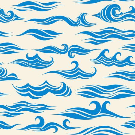 Het naadloze patroon van golven van element van het ontwerp