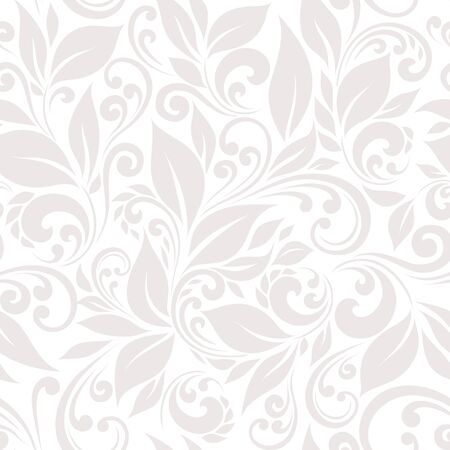 pearls and threads: Seamless pattern of stylized leaves and branches