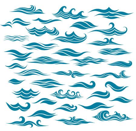 oceano: establecer olas estilizadas de elemento del diseño
