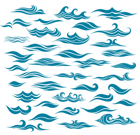 blue wave: set stylized waves from element of the design