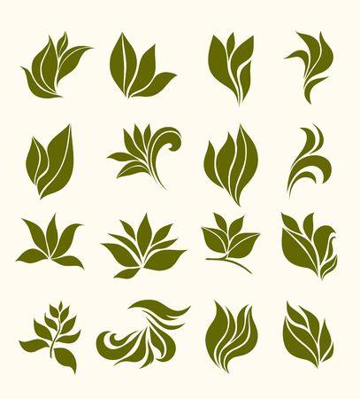 set foglie sagome stilizzate