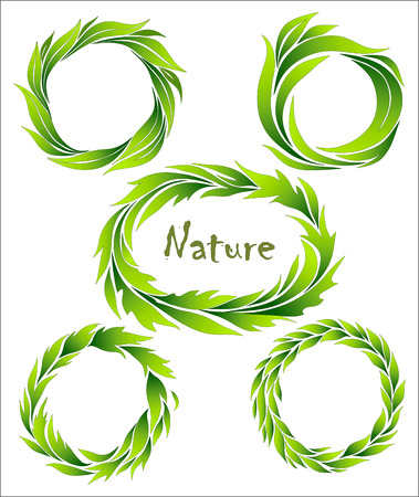 transplanted: set of wreaths, green stylized leaves Illustration