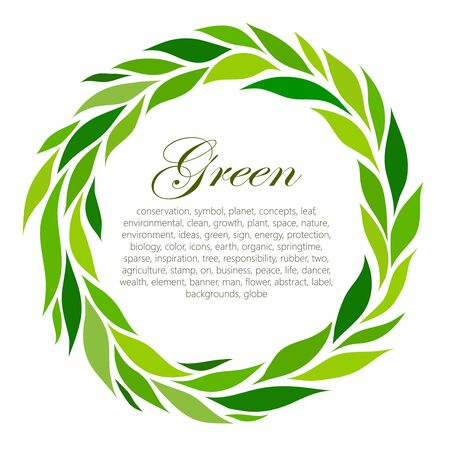 peace on earth: round frame of stylized green leaf