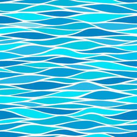 Naadloze patronen met gestileerde golven blauwe tinten